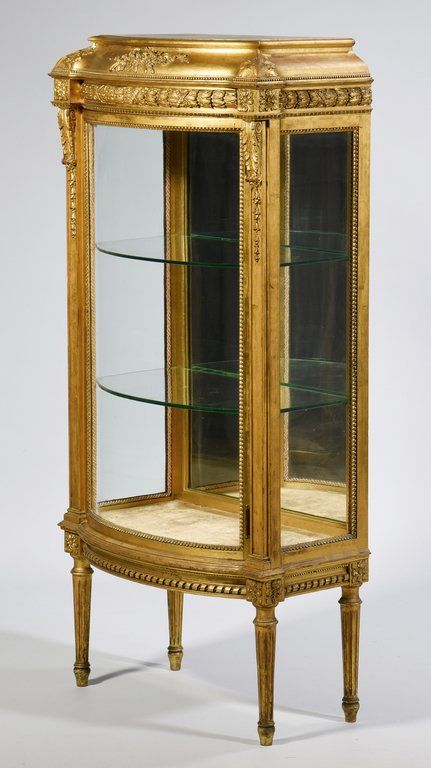Lot: Louis XVI Style Giltwood Vitrine, Lot Number: 0596, Starting Bid: $300, Auctioneer: Case Antiques, Inc. Auctions & Appraisals, Auction: Summer Historic Antiques & Art Auction, Date: July 30th, 2016 WEST