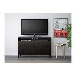BESTÅ TV bench with drawers - Lappviken black-brown, drawer runner, soft-closing - IKEA