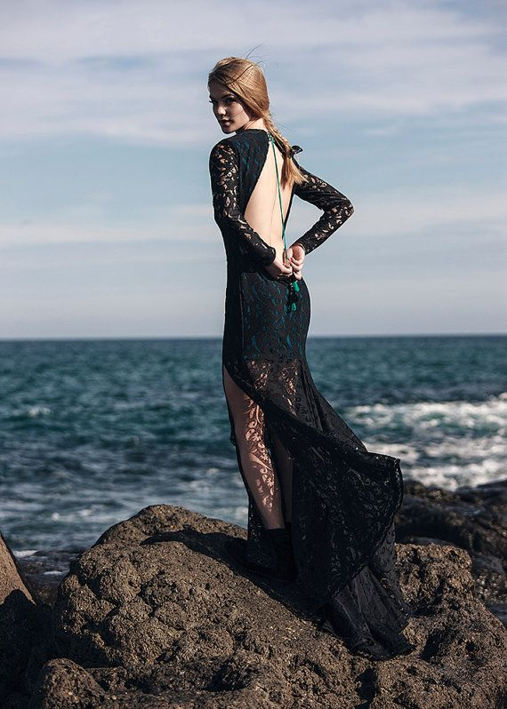 Maxi dress, evening gown for special occasions lace and knit with openwork floral pattern, high slit, open back, boho festival style