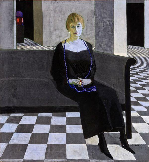 Felice Casorati, Ritratto di Teresa Madinelli,  1918 - 1919 circa,  tempera su tela, cm 160 x 140, Galleria d'Arte Moderna Achille Forti
