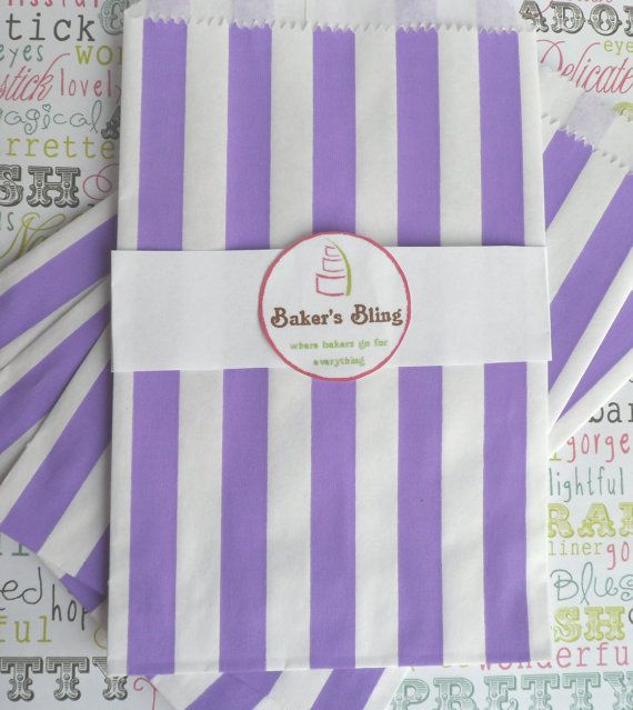 50 Purple Candy Stripe Paper Party Bags (Medium) for Candy Bars, Party Favors, Gift Packaging