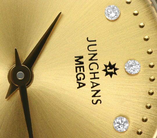 Foto 3, Junghans Mega Diamanten Funk-Armbanduhr massiv Gelbgold, U2214