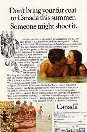 Funny Canadian travel ad from 1968. #canada #travel #cdnhistory