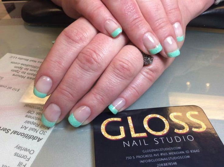 Blue French Tip Nails  by Angie Heinemann  Gloss Nails:  Schedule an appointment today  (208)887-8548