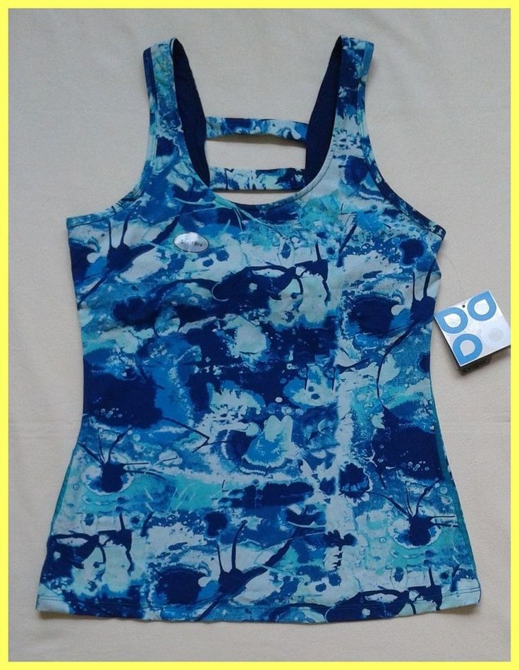 NWT $34 ACTRA PERFORMANCE BLUE NAVY JOGA FITNESS DOUBLE BAR BACK TANK TOP Sz M #Actra #ShirtsTops