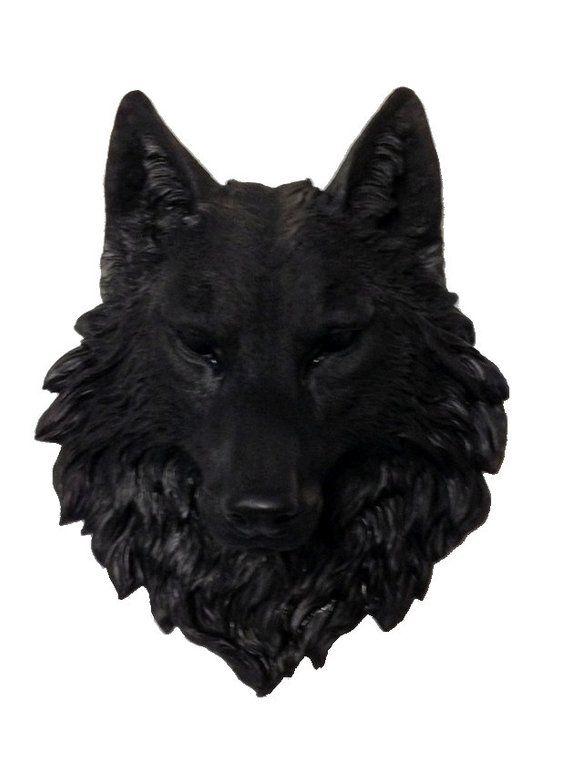 Black Wolf Head Mount Wall Statue With Green Eyes Custom