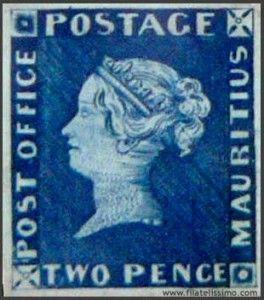 PAÍS DE ORIGEN: Isla Mauricio (1847). VALOR: US$ 3.8 Millones  Fueron los primeros de la entonces colonia británica. Sólo queda un ejemplar sin uso del de un penique, de color naranja, y un par del de dos peniques, azul. El único sobre que lleva los dos se vendió en 1993 en más de 3.8 millones de dólares.