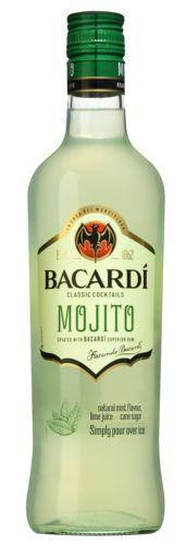 Bacardi Mojito 14,49  BACARDÍ Mojito Ready To Serve is een premium product dat de consument in staat stelt om in een handomdraai een kwalitatieve Mojito cocktail te serveren. De basis van dit product bestaat uit BACARDÍ Superior Rum, aangevuld met munt, limoen en suiker. Serveer met veel ijs in een longdrink glas en voeg hier nog eventueel een muntopje aan toe voor de garnering.