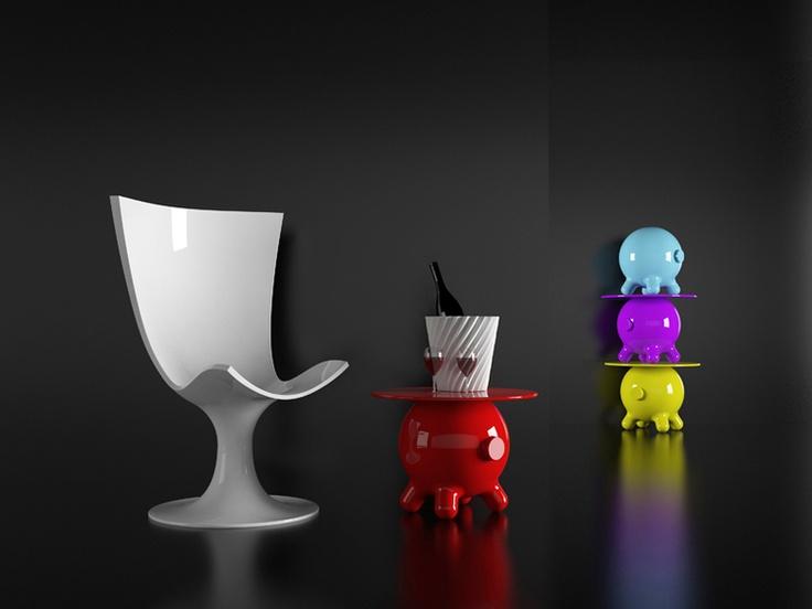 POGO Stool And Small Table By Joel Escalona