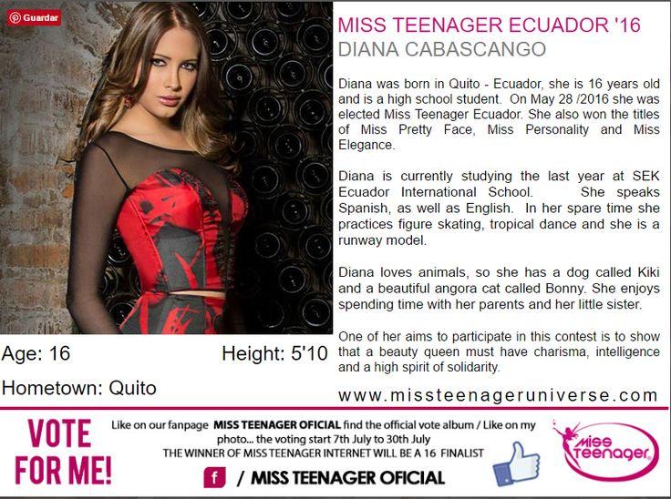 Diana Cabascango fue elegda Miss Teenager Ecuador, y representara al pais en el miss teen universe a realizarse en Guatemala