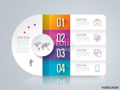 """Téléchargez le fichier vectoriel libre de droits """"Infographics design vector and business icons with 4 options."""" créé par tarapong au meilleur prix sur Fotolia.com. Parcourez notre banque d'images en ligne et trouvez l'illustration parfaite pour vos projets marketing !"""