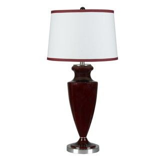 """Cal Lighting BO-967TB 150 Watt 33 Transitional Glass Dark Red Urn Table Lamp with 3-Way Switch and Drum Fabric Shade from the Sylvania Collection - 150 Watt 33"""" Transitional Glass Dark Red Urn Table Lamp with 3-Way Switch and Drum Fabric Shade from the Sylvania Collection  Uses (1) 150 watt medium base 3-way incandescent bulb (Not Included)Product dimensions: 33""""H x 16""""WShade crafted from fabric materialShade dimensions: 11""""H x 16""""W"""