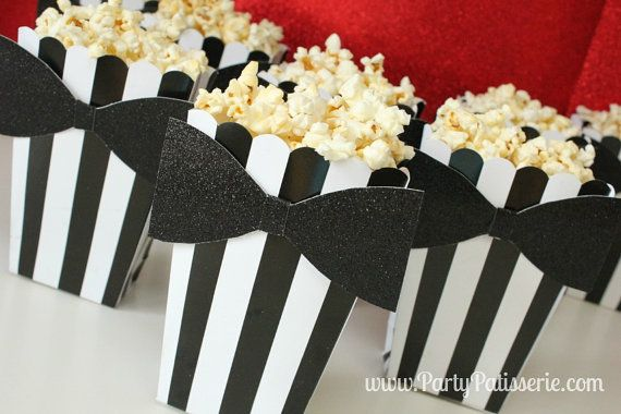 Black & White Striped Popcorn Boxes with Black by PartyPatisserie