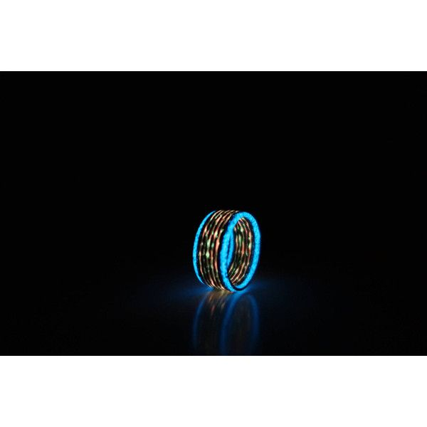 Carbon Fiber Ring With Fire And Blue Glow Lines About 10 Mm Width 445 Ils Liked On Polyvore Featuring Jewelry Carbon Fiber Rings Dark Rings Blue Jewelry