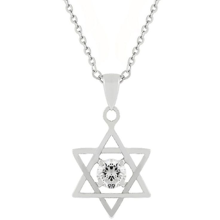 Pendants & Charms White Gold Rhodium Bonded Star of David with a Prong Set Round Cut Clear CZ centered in Silvertone. The Star of David pendant features a clear round CZ solitaire centered in this religious symbol for added beauty. White Gold Rhodium Bond is achieved using an electroplating process that coats the item with heavy layers of rhodium a close cousin of platinum that costs three times as much which gives our jewelry a platinum luster. Base Metal: Lead Free Alloy Clasp: Spring R...