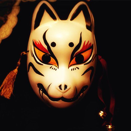 Full Face Hand-Painted Japanese Fox Mask Demon Kitsune Cosplay Masquerade Noh #Unbranded