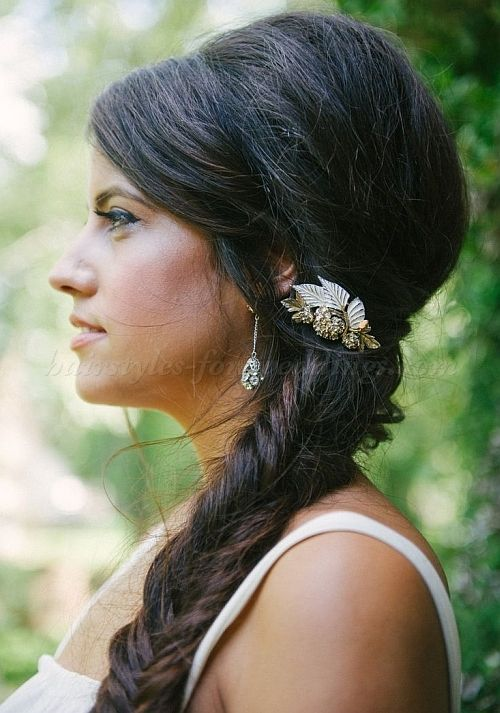 braided wedding hairstyles, bridal hairstyles with plaits - fishtail braid ponytail for brides