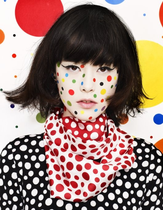 Mae Lapres photographed by Aitken Jolly for Interview Russia, 2012. Yayoi Kusama for Louis Vuitton.