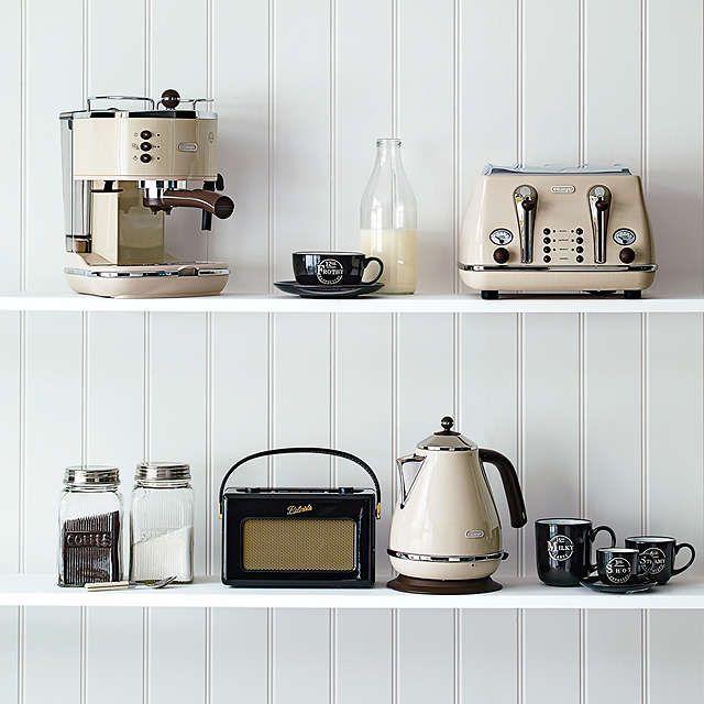 De'Longhi CTOV4003BG Vintage Icona Toaster, 4-Slice, Cream at John Lewis