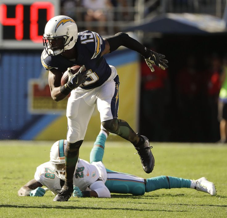 Dolphins vs. Chargers:  31-24, Dolphins  -  November 13, 2016  -   Dontrelle Inman breaks away from Miami Dolphins cornerback Bobby McCain during the first half of an NFL football game in San Diego, Sunday, Nov. 13, 2016. (AP Photo/Gregory Bull) AP, GREGORY BULL