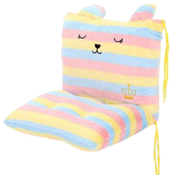 Chair Cushion Students' Thicker Cushion Office Chair Cushion Light Pink Stripe
