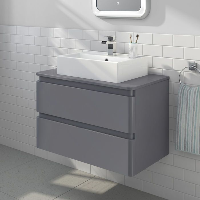 800mm Denver Ii Gloss Grey Countertop Unit Elisa Basin Wall