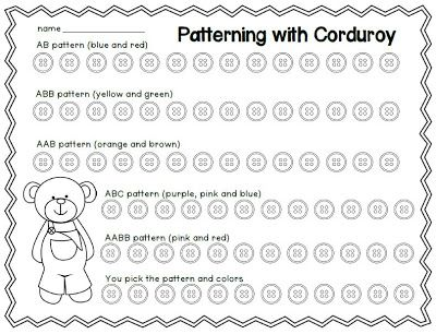 FREEBIE A patterning activity to use after reading Corduroy by Don Freeman