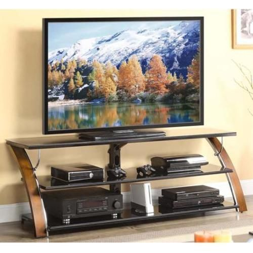 "TV Stand 3 Glass Shelf Tabletop Console for TVs up to 70""  and 135 lbs New Brown #1"