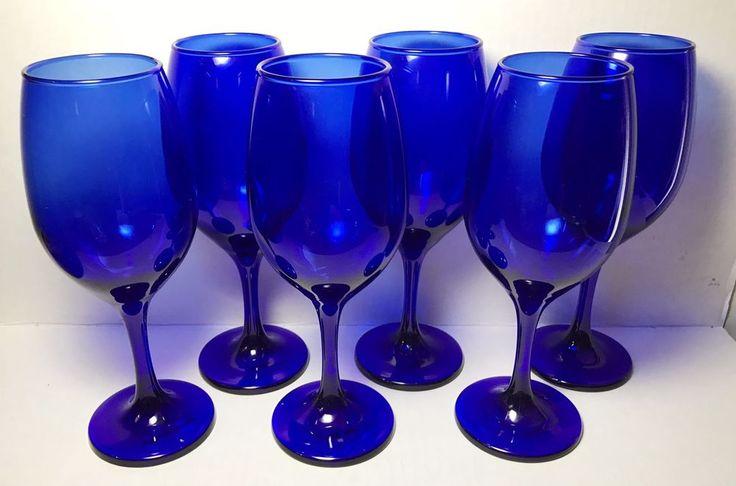 Set Of 6 Cristar Cobalt Blue Long Stem Wine Glasses NWT  | eBay