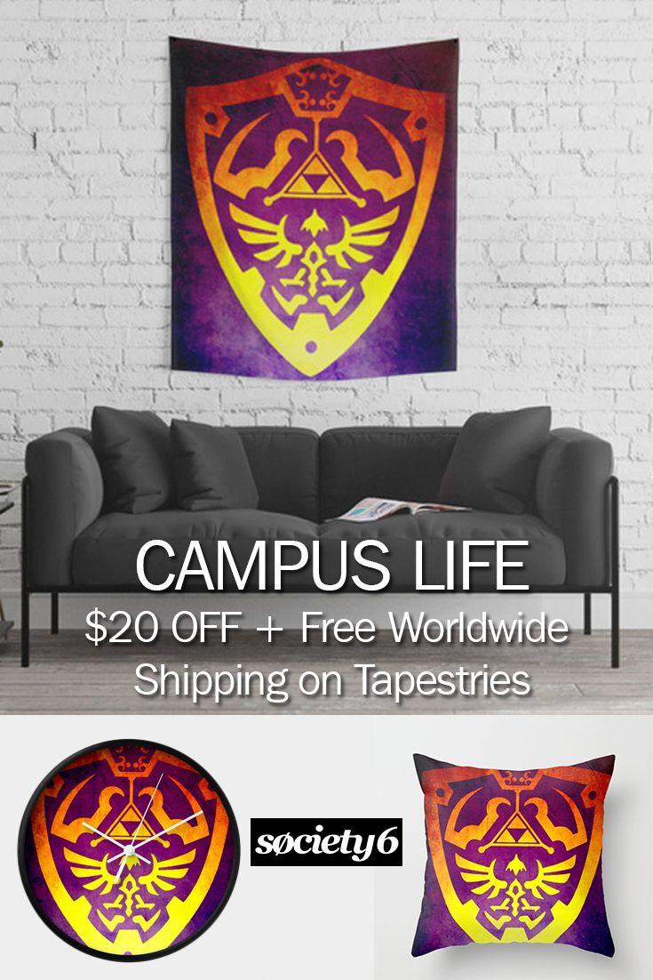 CAMPUS LIFE 20% OFF + Free Shipping on Tapestries Today! #campus #dorm #geek #nerd #zelda #legendofzelda #walltapestry #sales #save #disount #pillow #freshman #giftsforhim #giftsforher