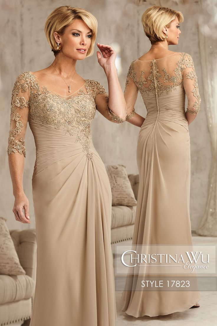#ChristinaWuElegance Style 17823 Embroidered lace forms the bodice, sheer high back, and ó-length sleeves. The chiffon skirt has a pleated waist with front and back draping. MATERIAL Chiffon & Lace SILHOUETTE Pencil NECKLINE V-Neck COLOR Sand, Navy, Cornflower