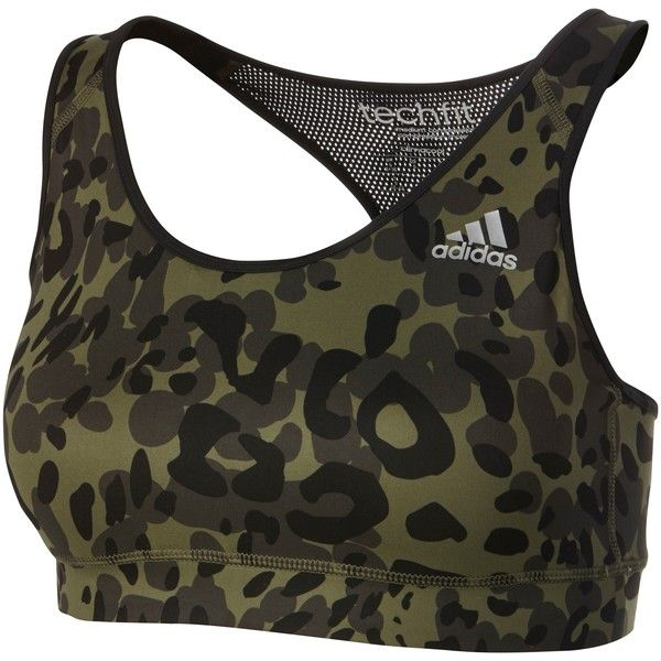 Adidas Techfit Animal Print Sports Bra (55 BRL) ❤ liked on Polyvore featuring activewear, sports bras, tops, underwear, sports, black, animal print sports bra, yoga sports bra, yoga activewear and racerback sports bra