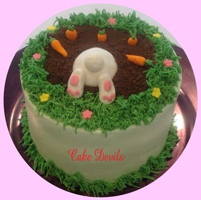 Digging Dog Cake Decoration : Easter Bunny digging Cake - Cake Devils.com Novelty ...