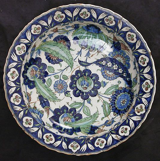 Dish    Date:      17th century  Geography:      Turkey  Medium:      Ceramic, underglaze painted  Dimensions:      3.00 in. high ( cm high)  Classification:      Ceramics
