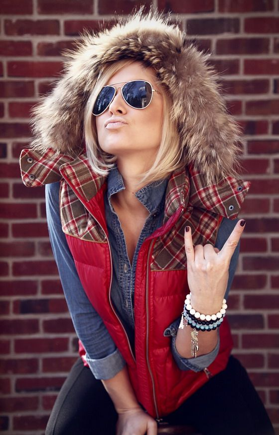 i like the red and flannel fur vest with the denim