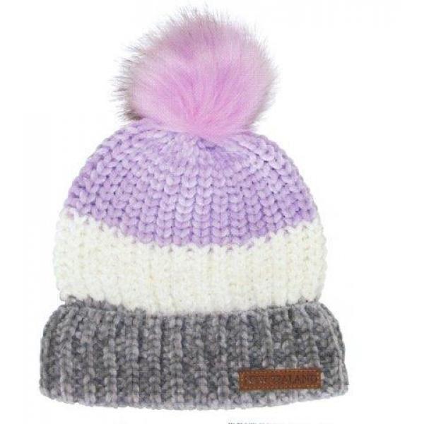 dc5cc0bcf8e Headwear Chenille Beanie Fur Pompom Multi Stripe