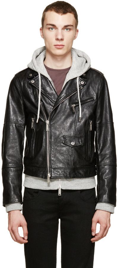 $3,280, DSQUARED2 Black Grey Hybrid Leather Jacket With Hoodie. Sold by SSENSE. Click for more info: https://lookastic.com/men/shop_items/291048/redirect