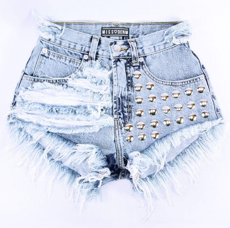 MISSDENIM | Coconut shorts - Jasno-marmurkowe szorty jeansowe z wysokim stanem.