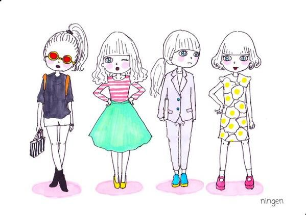 「おしゃれすぎるningenさんのイラストの女の子♡ファッションを真似っこしてningen worldへ。」に含まれるツイート画像|MERY [メリー]