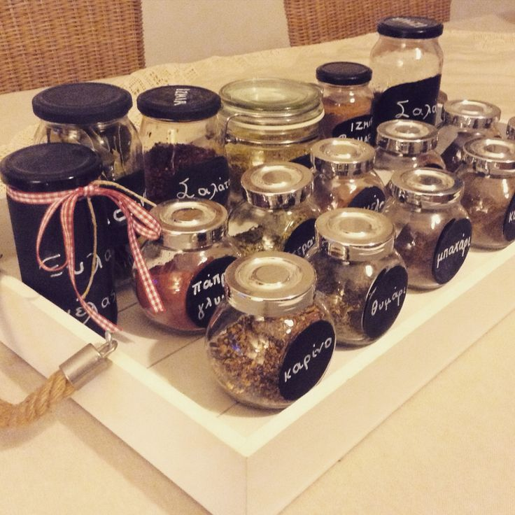 Jars painted with chalk board color. Kitchen use