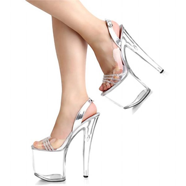 Newest Rhinestone Sexy 20cm Super High Heel Platforms Pole Dance Crystal shoes clear fisherman sandals Dance Shoes #Affiliate