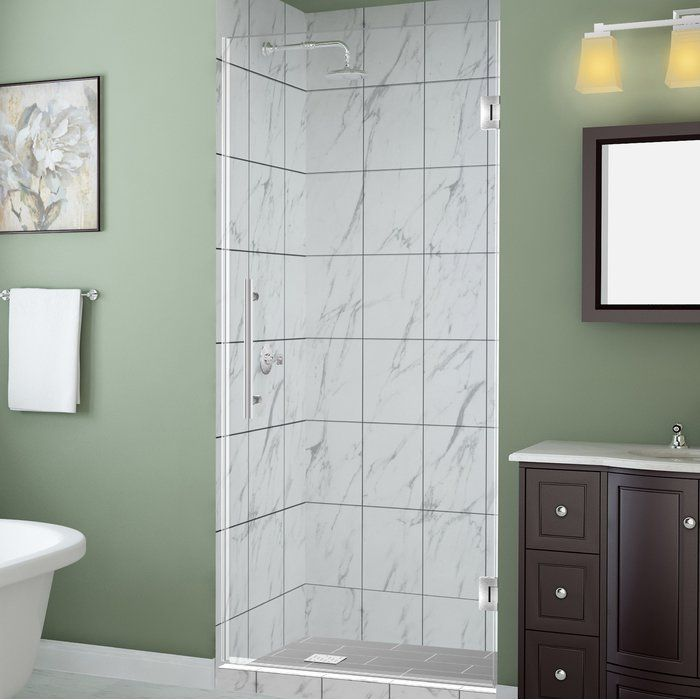 Kinkade 27 X 72 Hinged Frameless Shower Door Frosted Shower Doors Shower Doors Frameless Shower Doors