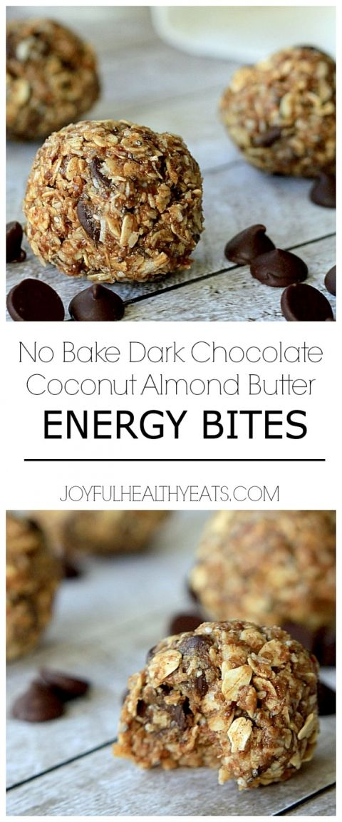 Can't... Stop.. eating these! No Bake Dark Chocolate Coconut Almond Butter Energy Bites! | www.joyfulhealthyeats.com #snack #healthy #recipe...