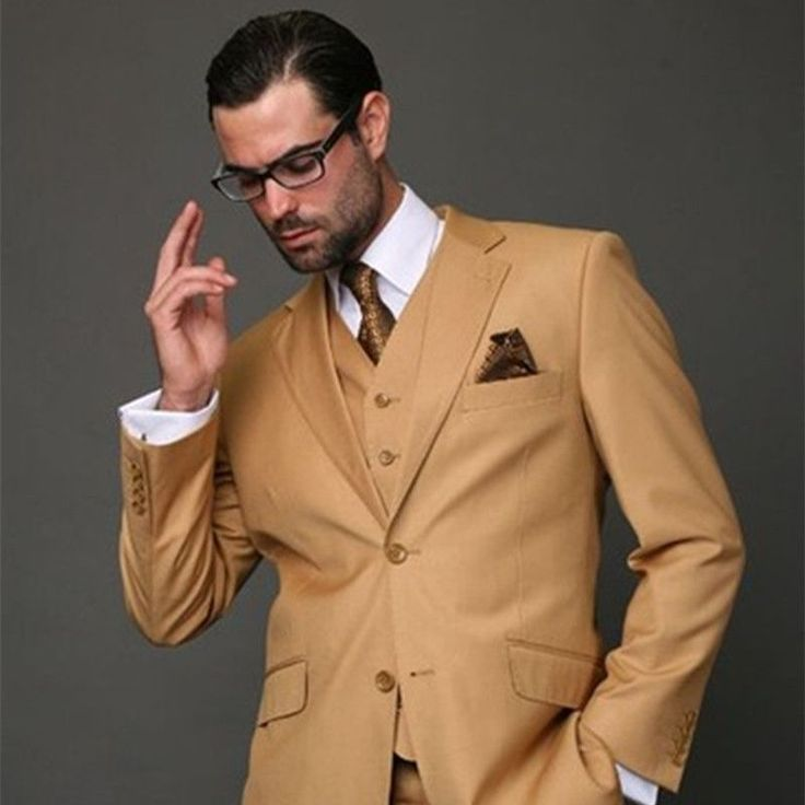 2017 Latest Coat Pant Designs Brown Khaki Classic Men Suit Slim Fit Modern Wedding Blazer Custom 3 Piece Jacket mens suits #Affiliate #menssuitsmodern