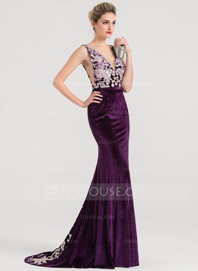 68d4b7d9cc63 US$ 159.99] Trumpet/Mermaid V-neck Sweep Train Velvet Evening Dress ...