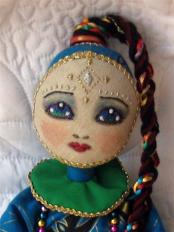 Handmade Cloth Art Doll - she looks a little sad, but still very beautiful, a nice looking doll idea