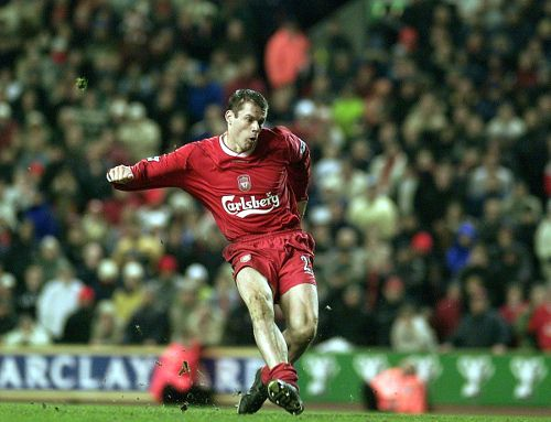 Carra scores the penalty that wins Liverpool the League Cup at Cardiff in 2001