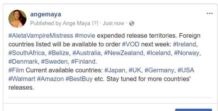#AletaVampireMistress #movie expended release territories. Foreign countries listed will be available to order #VOD next week:  #Ireland, #SouthAfrica, #Belize, #Australia, #NewZealand, #Iceland, #Norway, #Denmark, #Sweden, #Finland. #Film Current available countries: #Japan, #UK, #Germany, #USA #Walmart #Amazon #BestBuy etc. Stay tuned for more countries' releases.