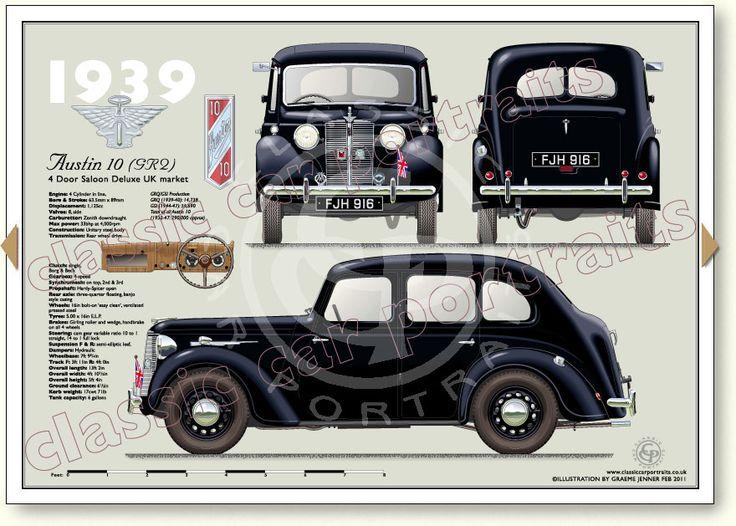 Austin 10 Saloon GRQ 1939-40 classic car portrait print