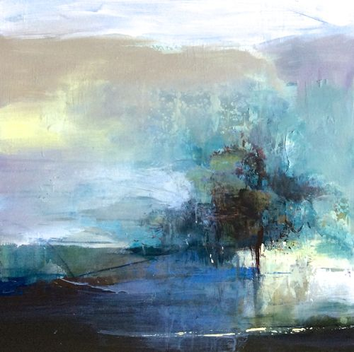 """Abstract Artists International: Contemporary Abstract Landscape Painting """"Resolute"""" by Intuitive Artist Joan Fullerton"""
